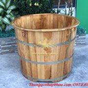 Bồn tắm gỗ sồi tròn